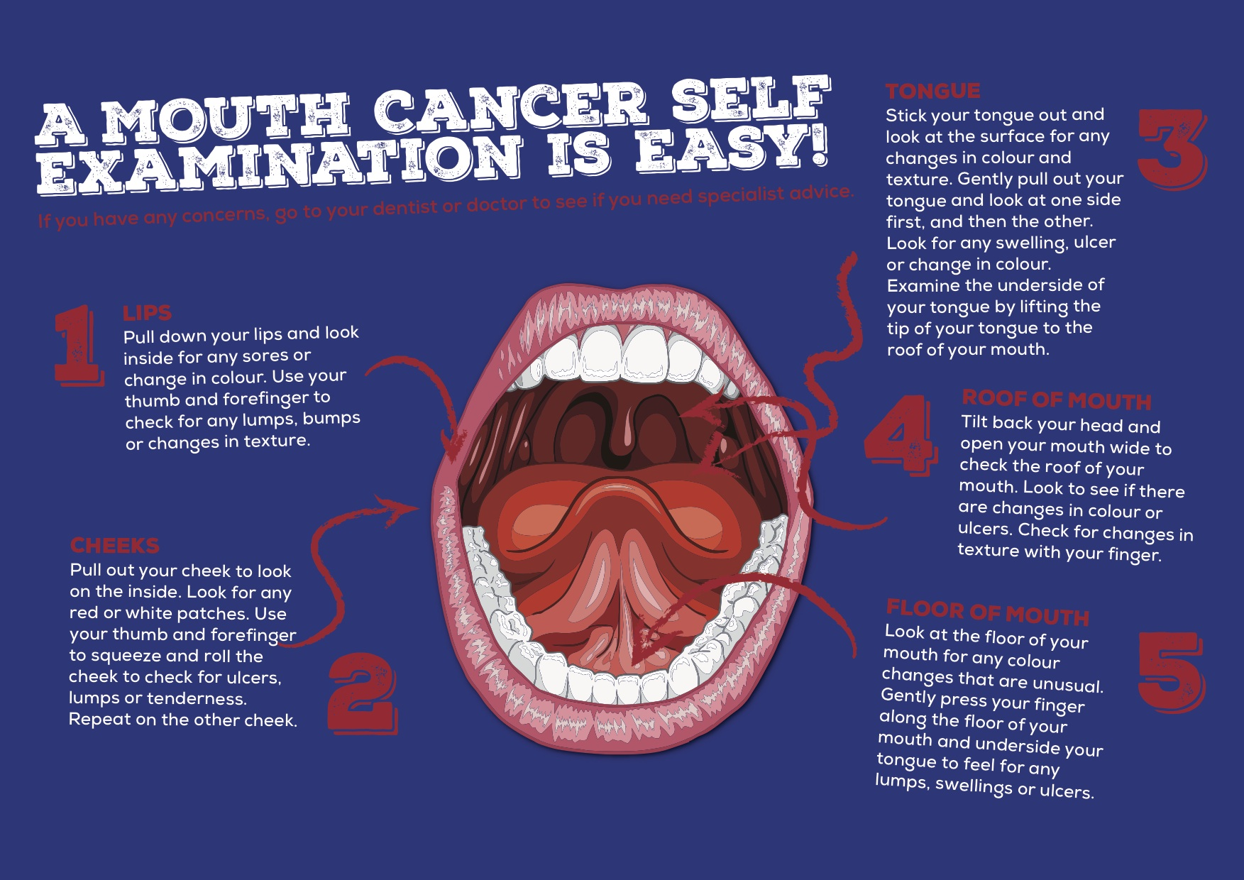 We Should All Regularly Check The Inside Of Our Mouths For Any Lumps,  Bumps, Red Or White Patches, Sores Or Ulcers. You Canu0027t Always Feel These  ...